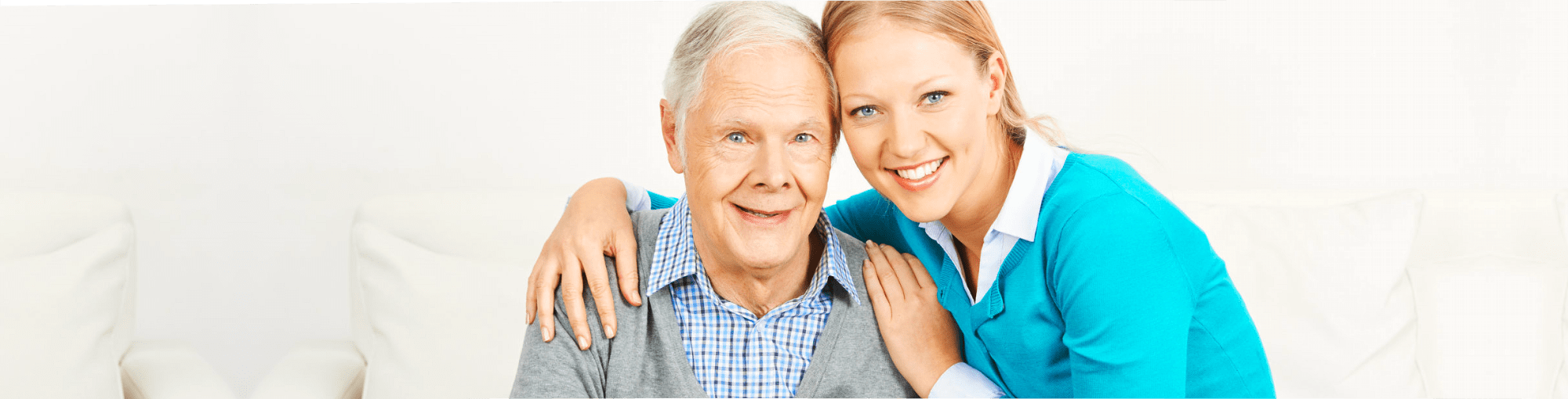 elderly man with his caregiver
