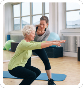 elderly woman having physical exercise